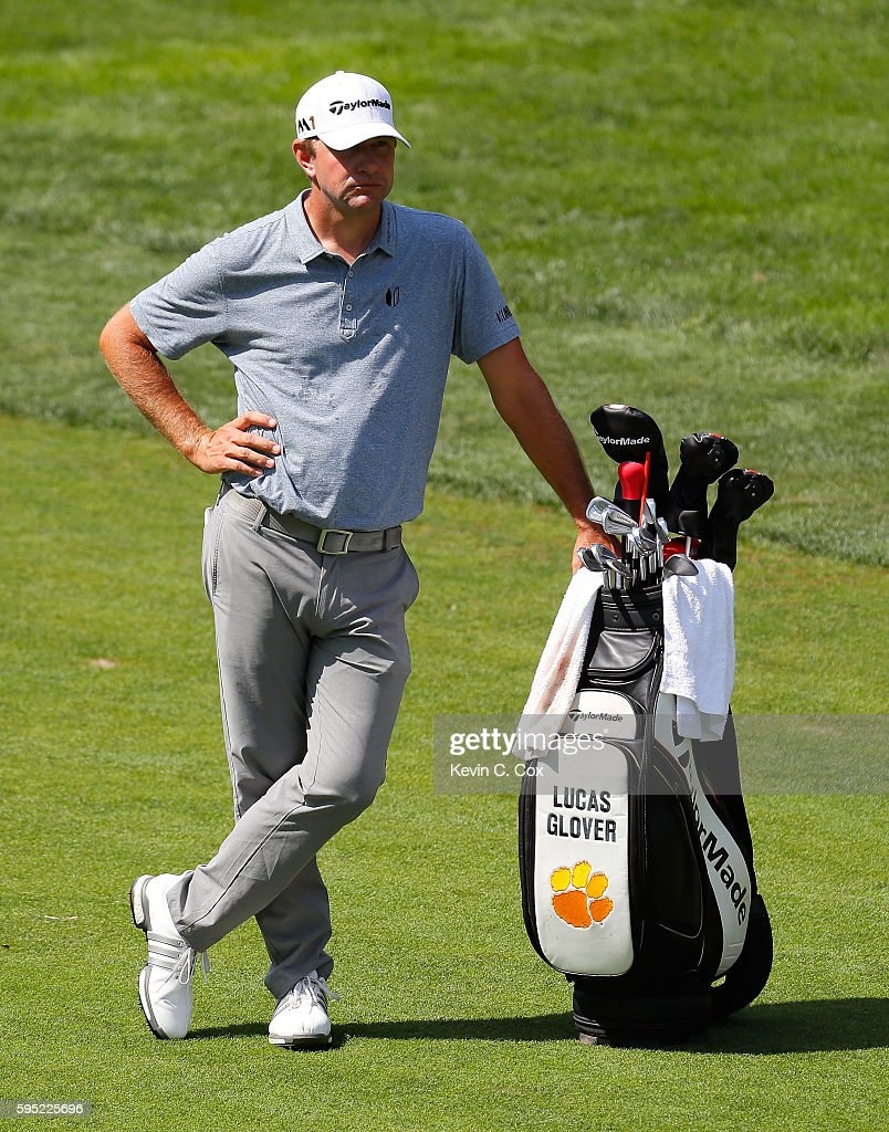 Lucas Glover waits to play his second shot on the second hole during the first round of The Barclays in the PGA Tour FedExCup PlayOffs on the Black...