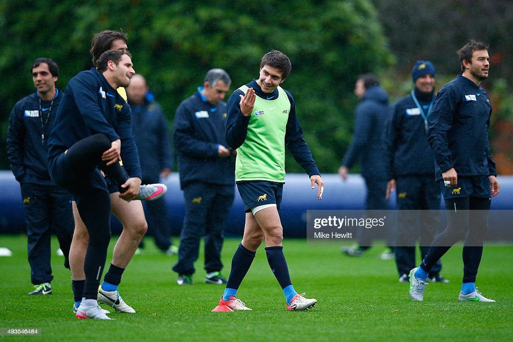 Lucas Gonzalez Amorosino (centre) of Argentina in action during an Argentina training session, ahead of Rugby World Cup semi final against Australia, at Pennyhill Park Hotel on October 21, 2015 in Bagshot, England.