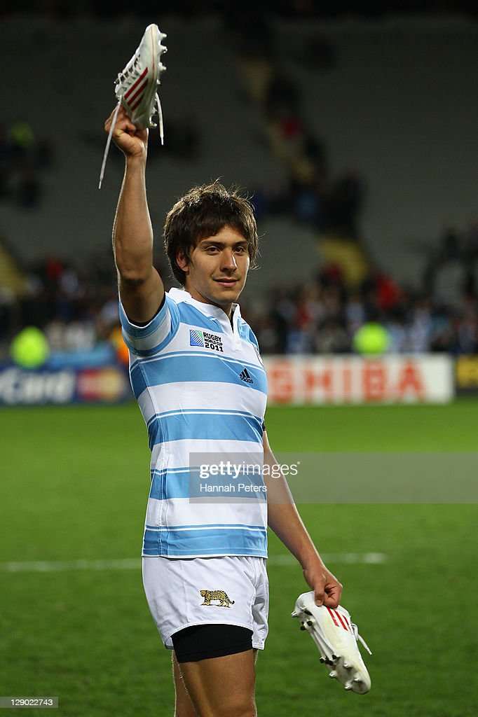 Lucas Gonzalez Amorosino of Argentina waves to the fans after the quarter final four of the 2011 IRB Rugby World Cup between New Zealand and Argentina at Eden Park on October 9, 2011 in Auckland, New Zealand.