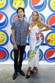 Lucas Goodman and Jillian Harvey of 'Lion Babe' attend Love from Cave to Keyboard Imagined by Pepsi Exhibition Opening on July 14 2016 in New York...
