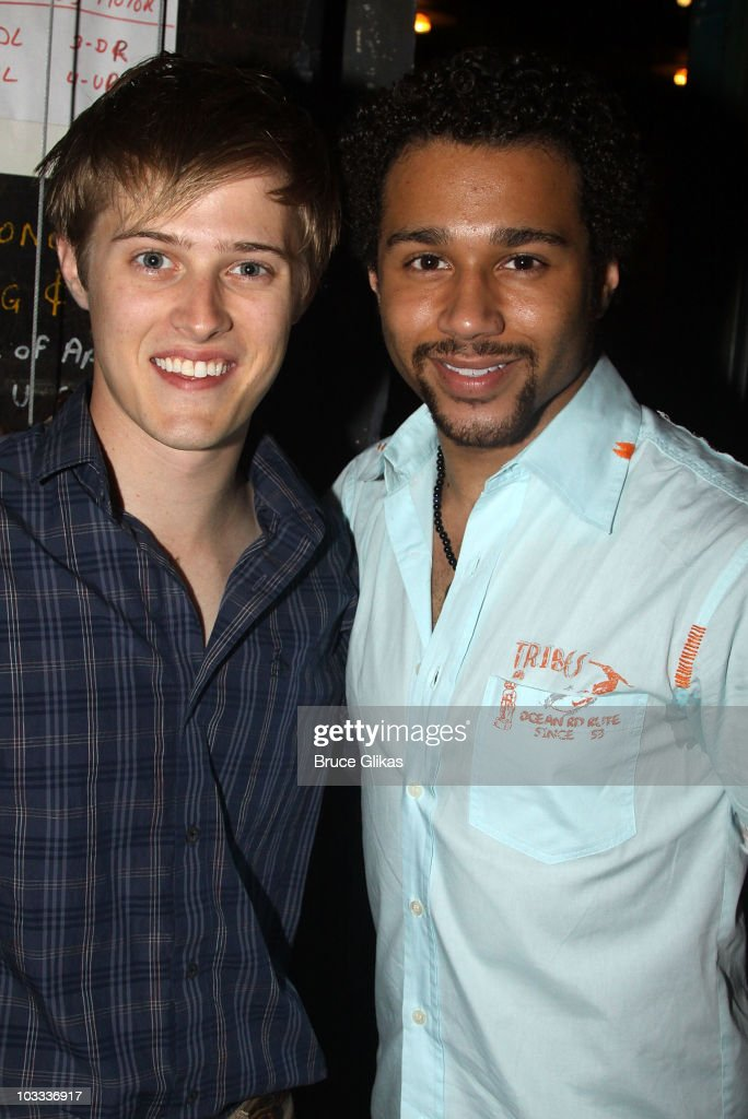 Lucas Grabeel and Corbin Bleu pose backstage at 'In The Heights' on Broadway at the Richard Rodgers Theatre on August 10 2010 in New York City