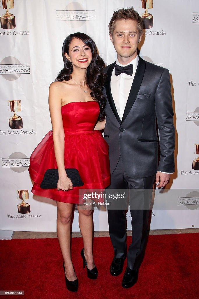 Lucas Grabeel (R) and Jessica DiCicco arrive at the 40th Annual Annie Awards held at Royce Hall on the UCLA Campus on February 2, 2013 in Westwood, California.