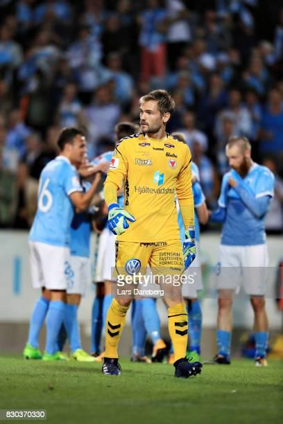 Lucas HaggJohansson goalkeeper of Kalmar FF after one of Malmo FFs goal during the Allsvenskan match between Malmo FF and Kalmar FF at Swedbank...