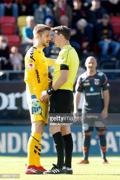 Lucas HaggJohansson goalkeeper of Kalmar FF and Andreas Ekberg head referee during the Allsvenskan match between Ostersunds FK and Kalmar FF at...