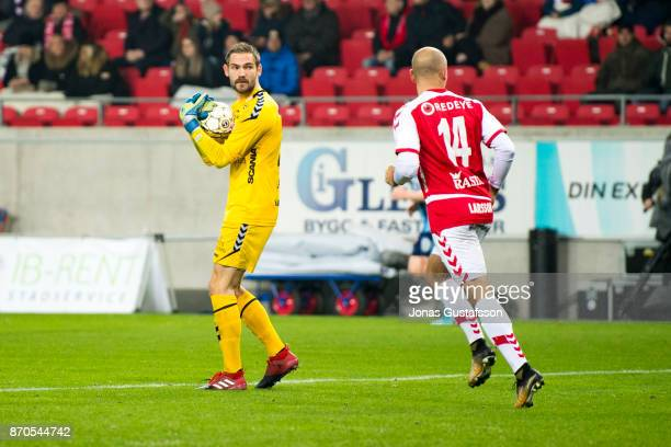 Lucas HaggJohansson goalkeeper of Kalmar FF during the allsvenskan match between Kalmar FF and Djurgarden IF at Guldfageln Arena on November 5 2017...