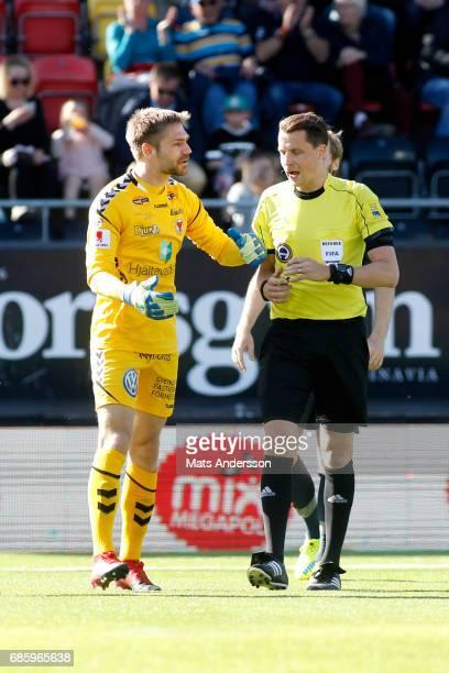 Lucas HaggJohansson goalkeeper of Kalmar FF is dejected after penalty during the Allsvenskan match between Ostersunds FK and Kalmar FF at Jamtkraft...