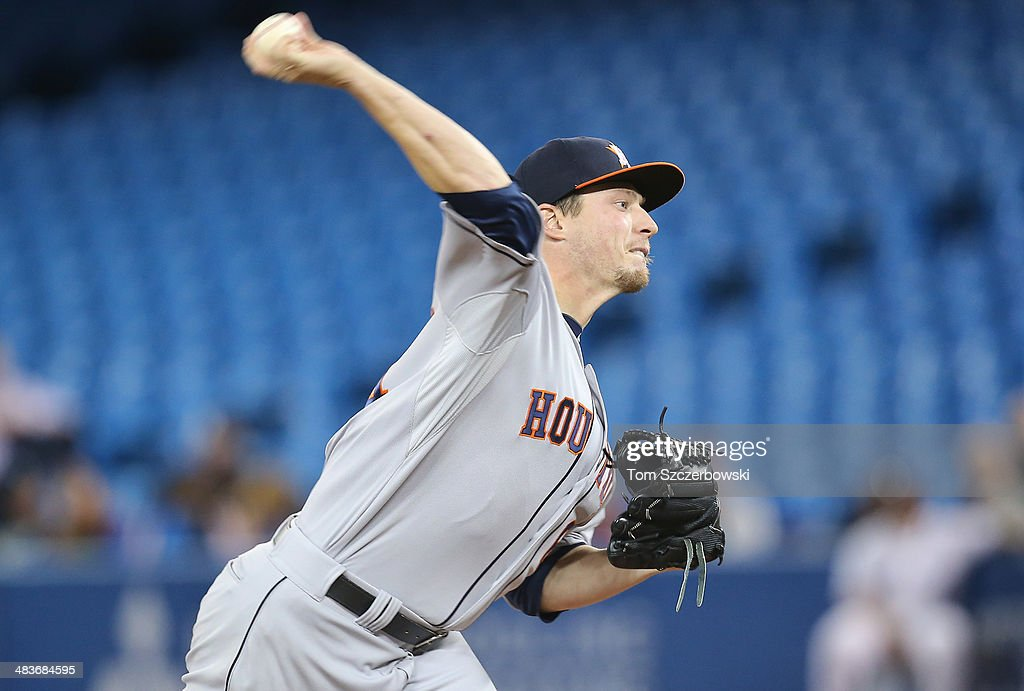 <a gi-track='captionPersonalityLinkClicked' href=/galleries/search?phrase=Lucas+Harrell&family=editorial&specificpeople=4946913 ng-click='$event.stopPropagation()'>Lucas Harrell</a> #64 of the Houston Astros delivers a pitch in the second inning during MLB game action against the Toronto Blue Jays on April 9, 2014 at Rogers Centre in Toronto, Ontario, Canada.