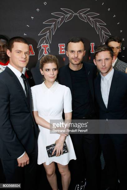 Lucas Hedges Kate Mara Stylist Kris Van Assche and Jamie Bell pose Backstage after the Dior Homme Menswear Spring/Summer 2018 show as part of Paris...