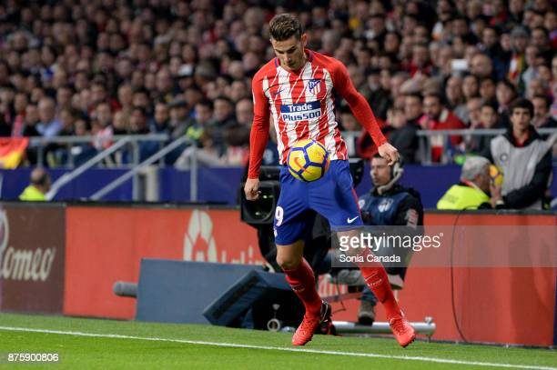 Lucas Hernandez #19 of Atletico de Madrid during The La Liga match between Club Atletico Madrid v Real Madrid at Wanda Metropolitano on November 18...