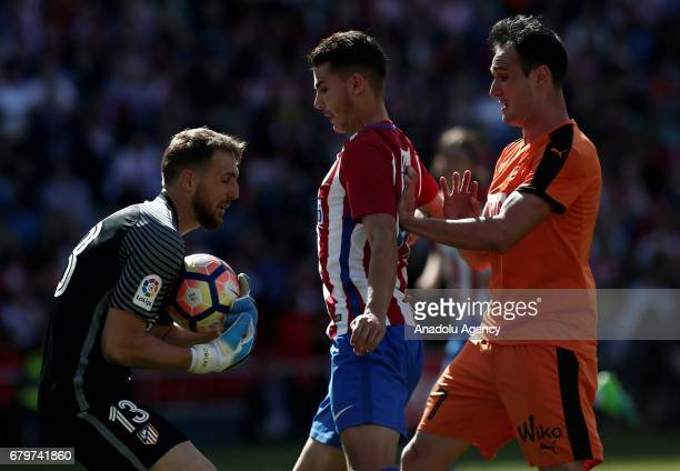 Lucas Hernandez and Jan Oblak of Atletico Madrid in action against Kike of Eibar during the La Liga football match between Atletico Madrid and Eibar...
