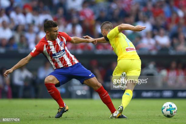 Lucas Hernandez of Atletico de Madrid and Dries Mertens of Napoli durign the first Audi Cup football match between Atletico Madrid and SSC Napoli in...