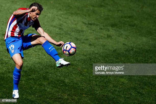 Lucas Hernandez of Atletico de Madrid controls the ball during the La Liga match between Club Atletico de Madrid and SD Eibar at Estadio Vicente...
