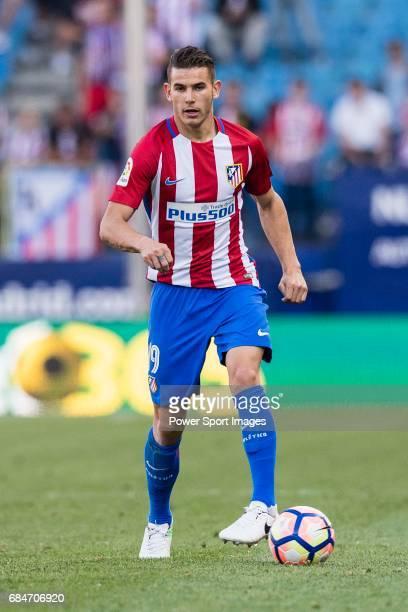 Lucas Hernandez of Atletico de Madrid in action during the La Liga match between Atletico de Madrid vs Osasuna at Estadio Vicente Calderon on 15...