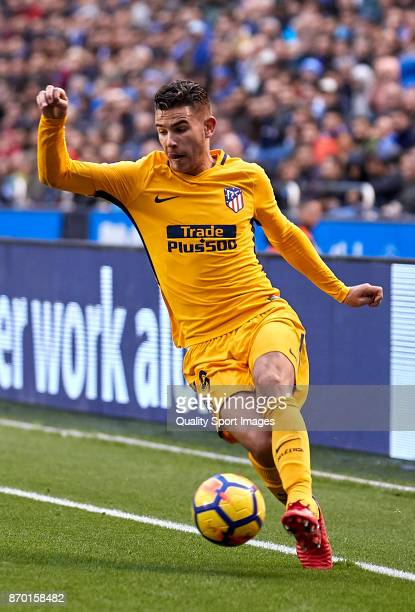 Lucas Hernandez of Atletico de Madrid in action during the La Liga match between Deportivo La Coruna and Atletico Madrid at Riazor Abanca Stadium on...