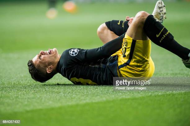 Lucas Hernandez of Atletico de Madrid lies on pitch injured during their 201617 UEFA Champions League Semifinals 1st leg match between Real Madrid...