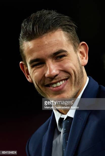 Lucas Hernandez of Atletico de Madrid reacts prior to the Copa del Rey semifinal second leg match between FC Barcelona and Atletico de Madrid at Camp...