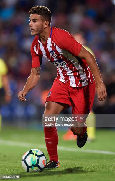 Lucas Hernandez of Atletico de Madrid runs with the ball during the Pre Season Friendly match between Getafe CF and Atletico de Madrid at Coliseum...