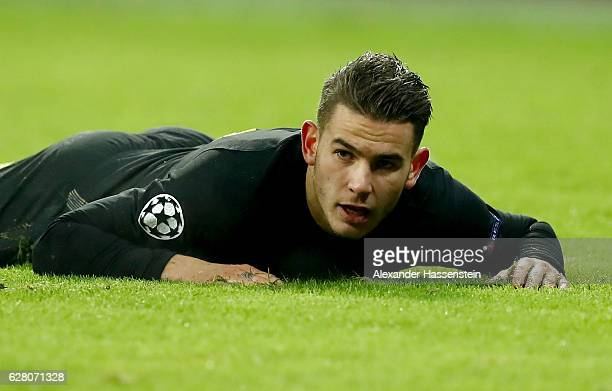 Lucas Hernandez of Atletico Madrid reacts during the UEFA Champions League match between FC Bayern Muenchen and Club Atletico de Madrid at Allianz...