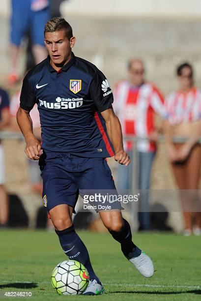 Lucas Hernandez of Club Atletico de Madrid in action during the Jesus Gil y Gil Memorial preseason friendly match between Numancia and Club Atletico...