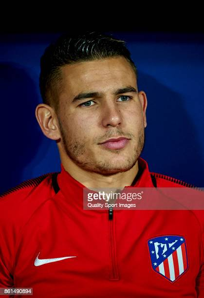 Lucas Hernandez Pi of Atletico Madrid looks on prior the La Liga match between Atletico Madrid and Barcelona at Estadio Wanda Metropolitano on...