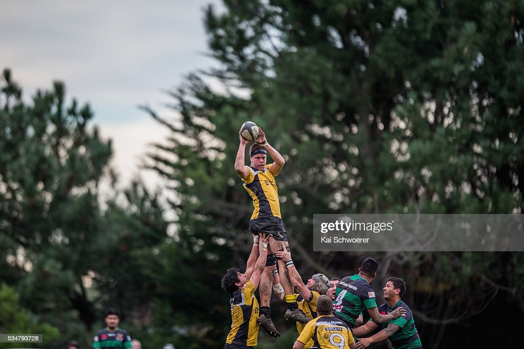 Lucas Hill of New Brighton wins a lineout during the match between New Brighton RFC and Linwood RC on May 28, 2016 in Christchurch, New Zealand.