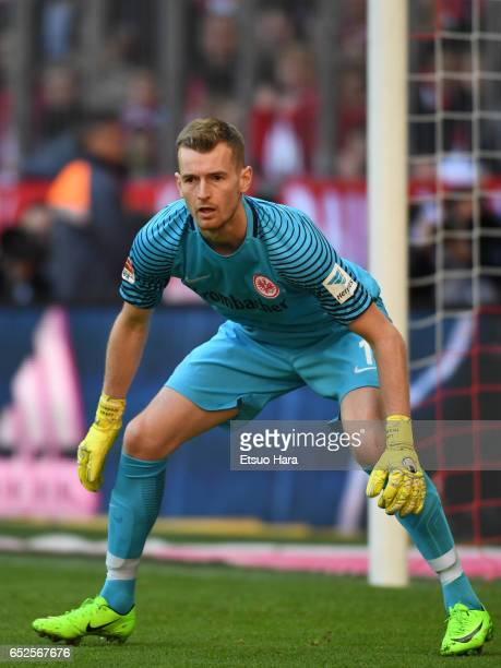 Lucas Hradecky of Frankfurt in action during the Bundesliga match between Bayern Muenchen and Eintracht Frankfurt at Allianz Arena on March 11 2017...