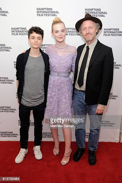 Lucas Jade Zumann Elle Fanning and Mike Mills attend the red carpet of 20th Century Women screening during the Hamptons International Film Festival...