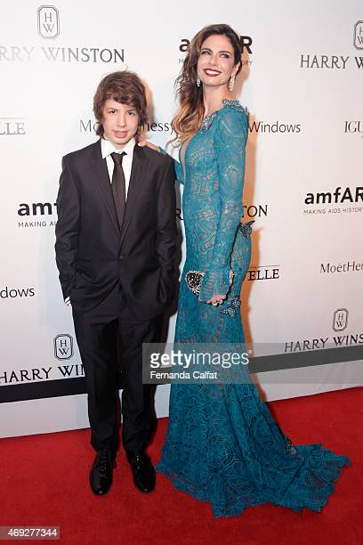 Lucas Jagger and Luciana Gimenez attend the 5th Annual amfAR Inspiration Gala at the home of Dinho Diniz on April 10 2015 in Sao Paulo Brazil