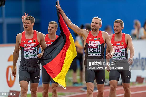 Lucas Jakubczyk Sven Knipphals Julian Reus Roy Schmidt of Germany winning the bronce medal in the menÕs 4x100m relay finals at the Olympic Stadium...