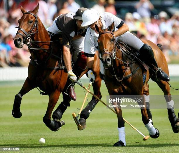 Lucas James of Black Bears takes on Gonzalito Pieres of Ellerston White during the Veuve Clicquot Gold Cup British Open Polo Championship at Cowdray...