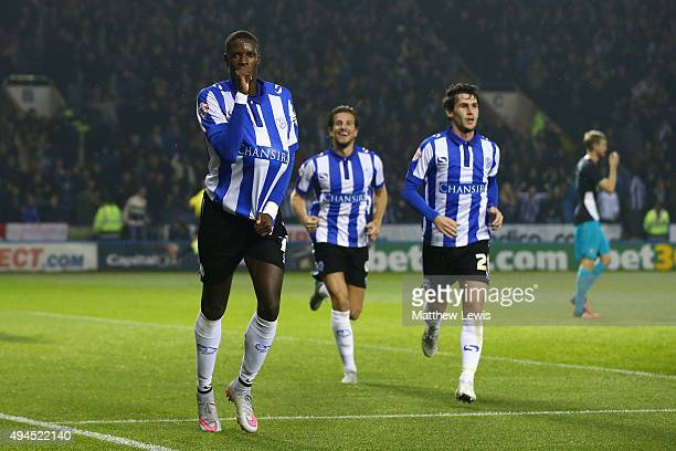 Lucas Joao of Sheffield Wednesday celebrates after scoring his team's second goal during the Capital One Cup fourth round match between Sheffield...