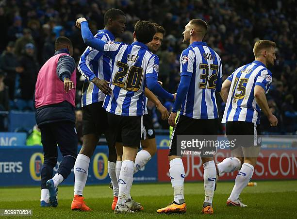 Lucas Joao of Sheffield Wednesday is congratulated on his goal during the Sky Bet Championship match between Sheffield Wednesday and Brentford at...