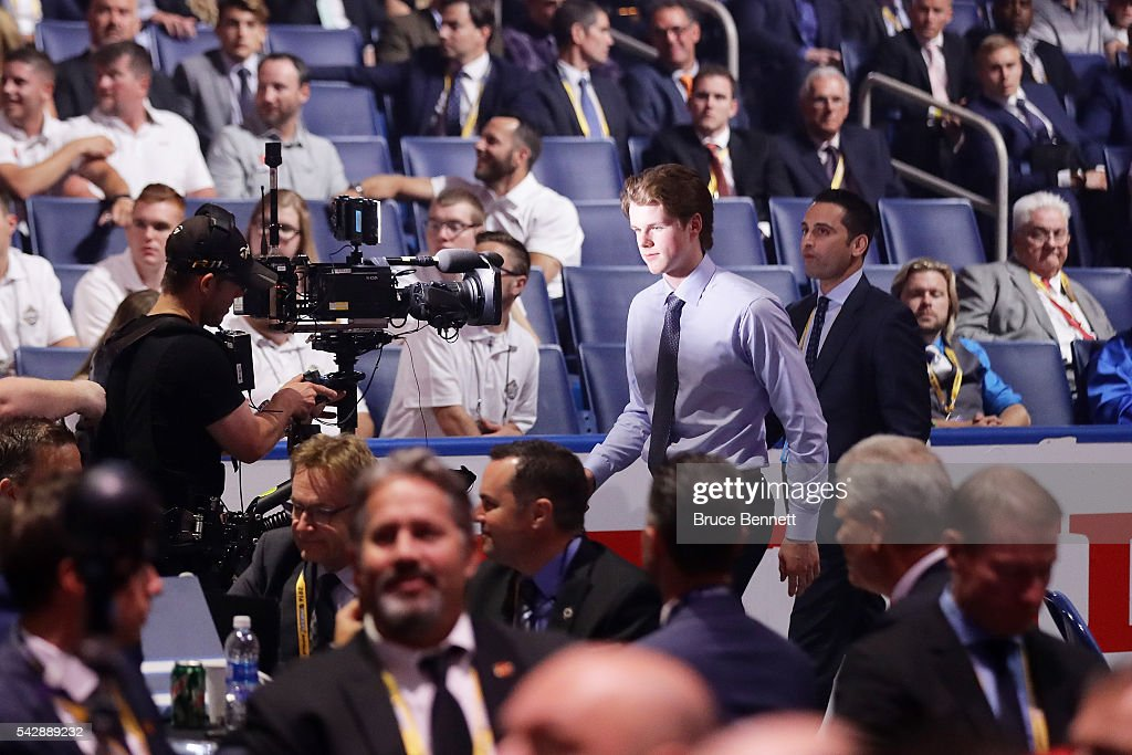 <a gi-track='captionPersonalityLinkClicked' href=/galleries/search?phrase=Lucas+Johansen&family=editorial&specificpeople=13642208 ng-click='$event.stopPropagation()'>Lucas Johansen</a> reacts after being selected 28th overall by the Washington Capitals during round one of the 2016 NHL Draft on June 24, 2016 in Buffalo, New York.