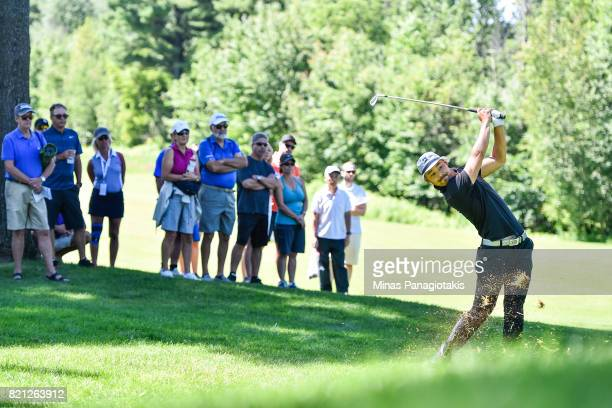 Lucas Kim of Canada hits his approach from the rough on the first hole during the final round of the Mackenzie Investments Open at Club de Golf Les...