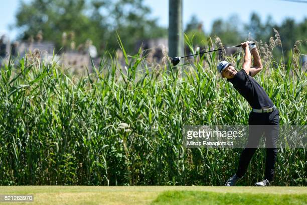 Lucas Kim of Canada hits his tee shot on the fourth hole during the final round of the Mackenzie Investments Open at Club de Golf Les Quatre Domaines...