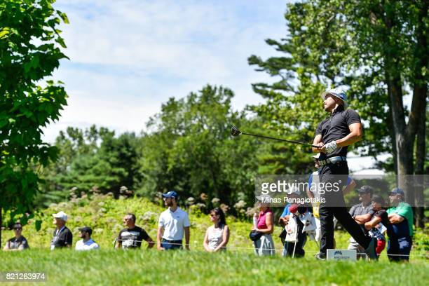 Lucas Kim of Canada hits his tee shot on the second hole during the final round of the Mackenzie Investments Open at Club de Golf Les Quatre Domaines...