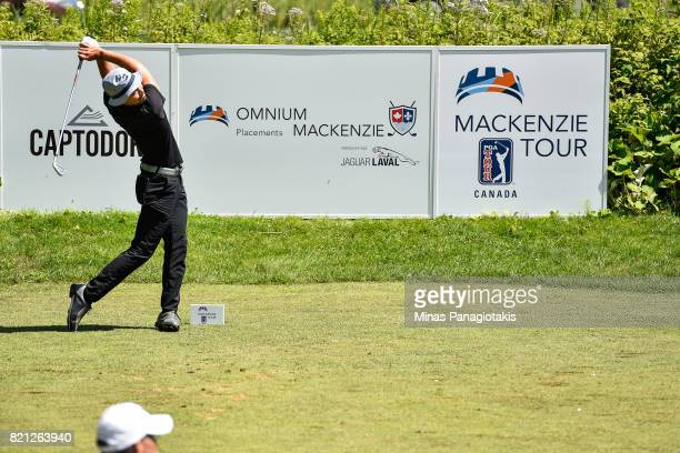 Lucas Kim of Canada hits his tee shot on the third hole during the final round of the Mackenzie Investments Open at Club de Golf Les Quatre Domaines...