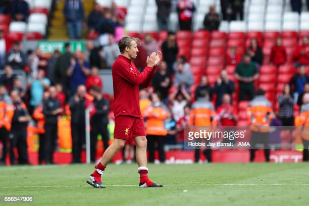 Lucas Leiva of Liverpool applauds the fans during the Premier League match between Liverpool and Middlesbrough at Anfield on May 21 2017 in Liverpool...