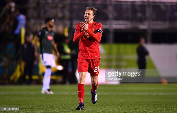 Lucas Leiva of Liverpool celebrates scoring the opening goal during The Emirates FA Cup Third Round Replay match between Plymouth Argyle and...