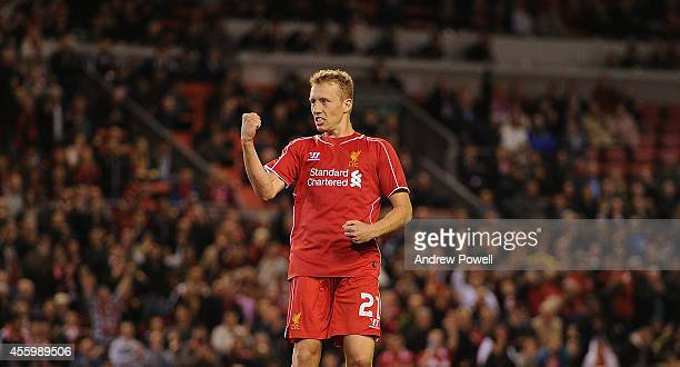 Lucas Leiva of Liverpool celebrates the win during the Capital One Cup Third Round match between Liverpool and Middlesbrough at Anfield on September...