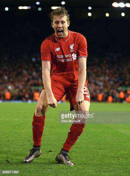 Lucas Leiva of Liverpool celebrates victory in the penalty shoot out after the Capital One Cup semi final second leg match between Liverpool and...