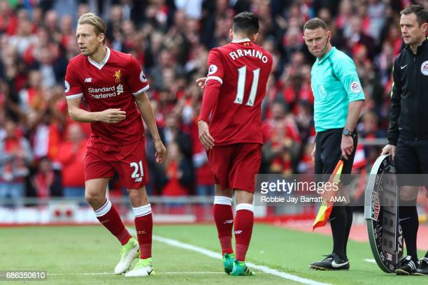 Lucas Leiva of Liverpool comes on during the Premier League match between Liverpool and Middlesbrough at Anfield on May 21 2017 in Liverpool England