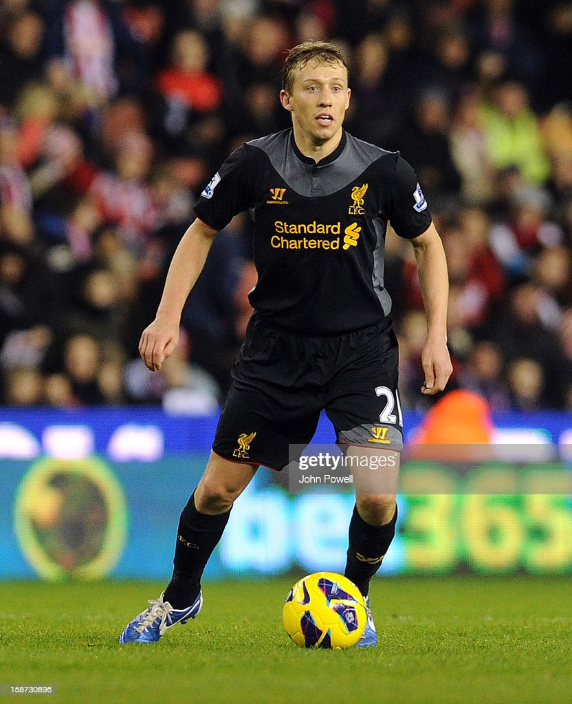 Lucas Leiva of Liverpool during the Barclays Premier League match between Stoke City and Liverpool at Britannia Stadium on December 26, 2012 in Stoke on Trent, England.