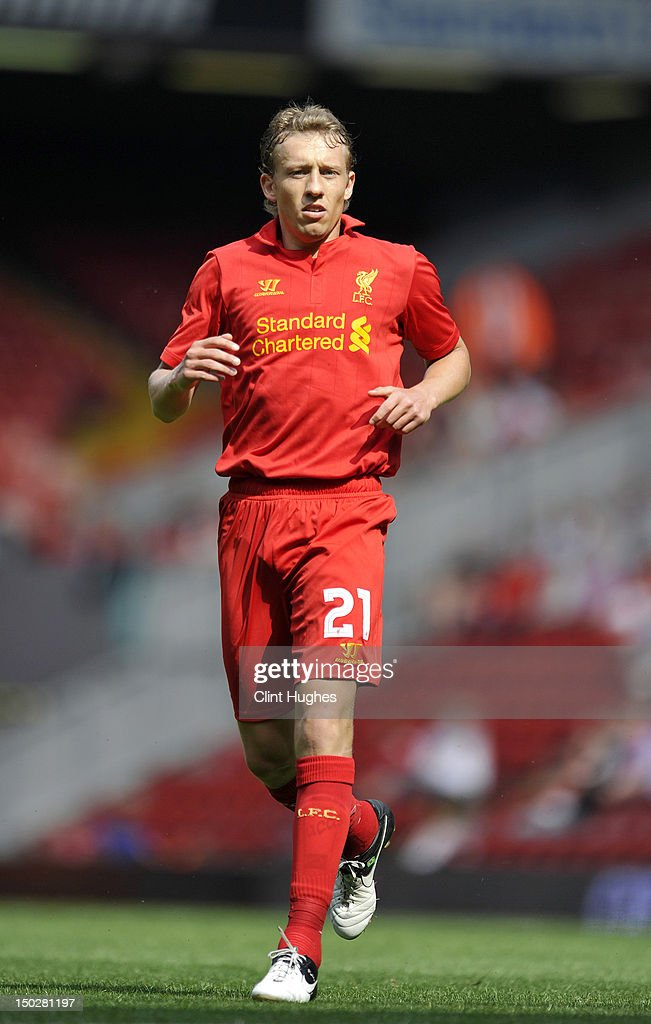 Lucas Leiva of Liverpool during the pre season friendly match between Liverpool and Bayer Leverkusen at Anfield on August 12, 2012 in Liverpool, England.