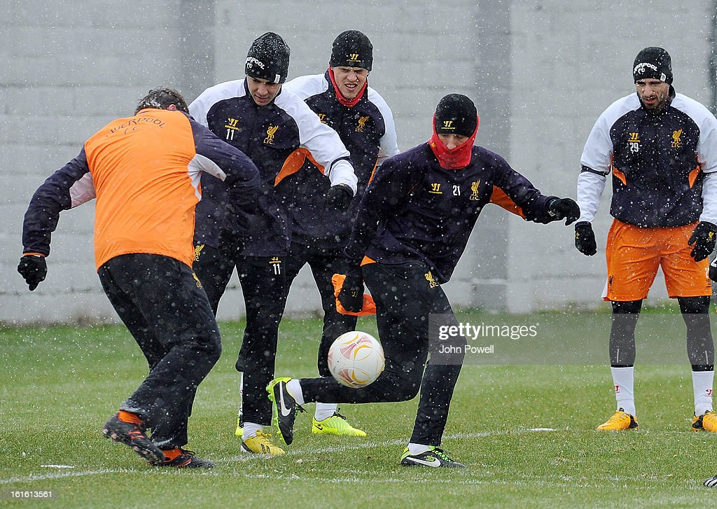 Lucas Leiva of Liverpool in action during a training session at Melwood Training Ground on February 13, 2013 in Liverpool, England.