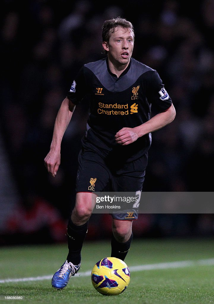 Lucas Leiva of Liverpool in action during the Barclays Premier League match between West Ham United and Liverpool at the Boleyn Ground on December 9, 2012 in London, England.