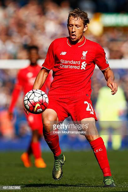 Lucas Leiva of Liverpool in action during the Barclays Premier League match between Everton and Liverpool at Goodison Park on October 4 2015 in...