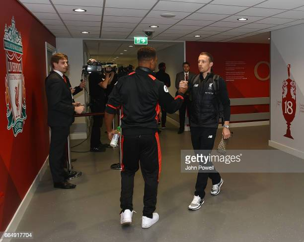 Lucas Leiva of Liverpool shakes hands with Jordon Ibe of AFC Bournemouth before the Premier League match between Liverpool and AFC Bournemouth at...