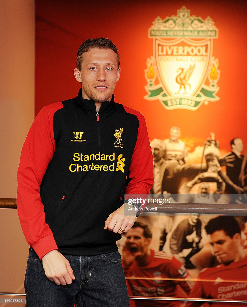 <a gi-track='captionPersonalityLinkClicked' href=/galleries/search?phrase=Lucas+Leiva+-+Defensive+Midfielder+-+Born+1987&family=editorial&specificpeople=4114250 ng-click='$event.stopPropagation()'>Lucas Leiva</a> of Liverpool signs a long term extension to his contract at Melwood Training Ground on April 10, 2013 in Liverpool, England.