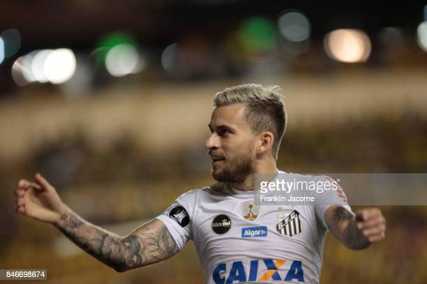 Lucas Lima celebrates after the match between a first leg match between Barcelona SC and Santos as part of quarter finals of Copa CONMEBOL...